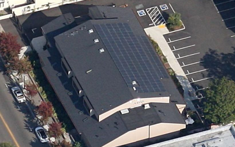 commercial solar power installation top view