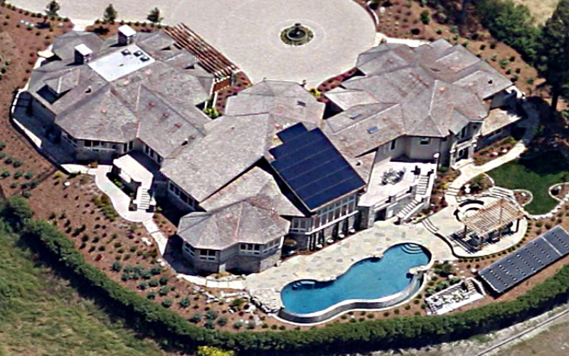 residential solar installation birds eye view