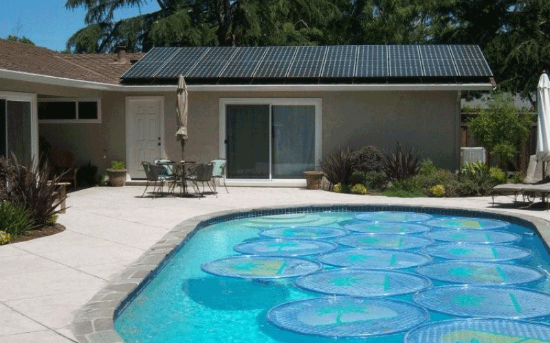 residential solar power system featuring pool