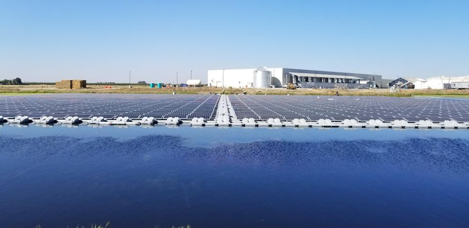 Floating Solar Array on an irrigation pond for Salad Cosmo | Sky Power Solar