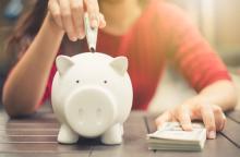 savings into a piggy bank