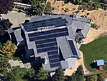ariel view large residential solar power system installation