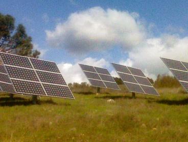 multiple ground mounted solar system panels hiddenhills